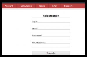 панель регистрации в сервисе rdp-mining