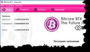 Bitcore-кошелек - внешний вид бумажника
