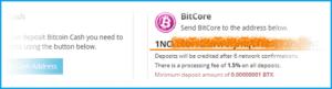адрес, с которым можно заходить на Bitcore краны